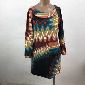 ARYEH Swirly ABSTRACT Chevron Patterned DRESS  S